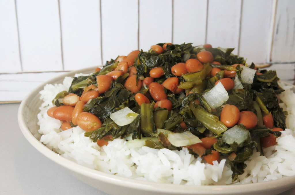 Collard Greens & Beans over Rice