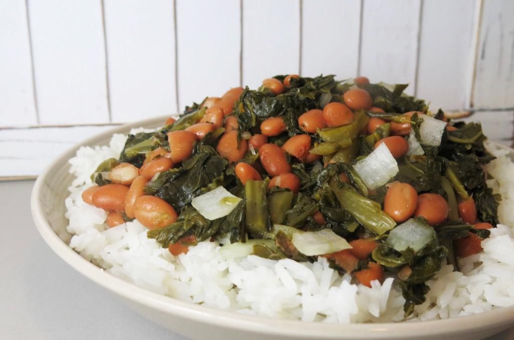 Collard Greens & Beans over Rice