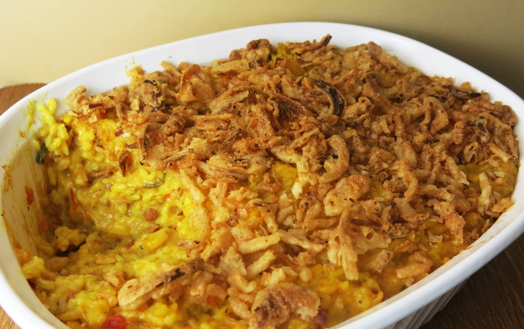 Saffron Rice Casserole with Tomatoes, Okra & Corn
