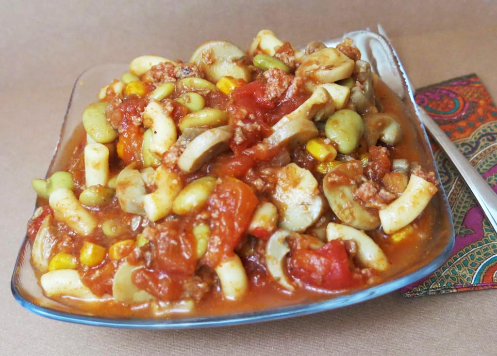 Mushroom Macaroni & Beef with Succotash