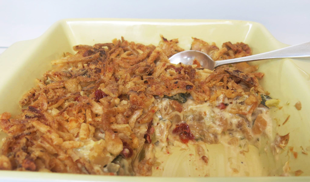 Cabbage & Rutabaga Casserole with Crunchy Onions