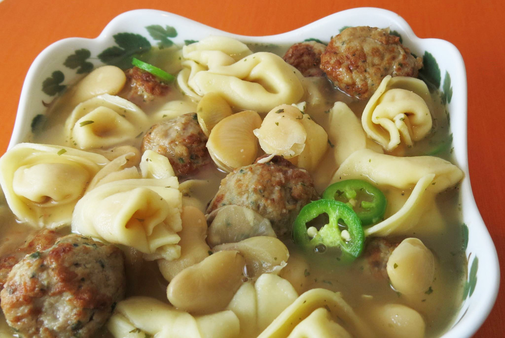 Cheese Tortellini & Butter Bean Soup with Meatballs