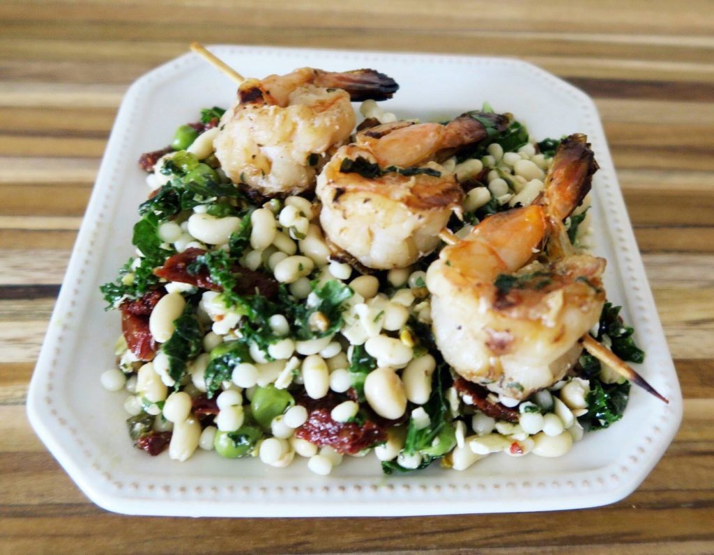 Grilled Shrimp, Kale and Couscous Salad