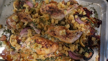 Sheet Pan Chicken with Red Onions and Rutabagas