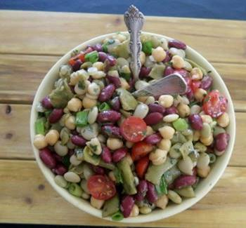 Chilled Five Bean Salad with Fresh Parsley
