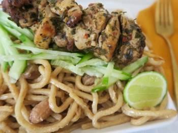Grilled Chicken Skewers over Sesame Peanut Noodles